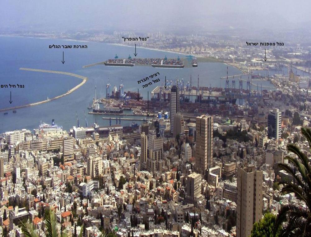 מבט כללי על תוכניות הפיתוח במפרץ חיפה: לשון של שוברי גלים בעומק 2.5 קילומטרים, הרחבת שטחי הנמל המזרחי והרחבת בתי הזיקוק. בנוסף: חשמול הרכבת (הדמיה: RDV SISTEM)