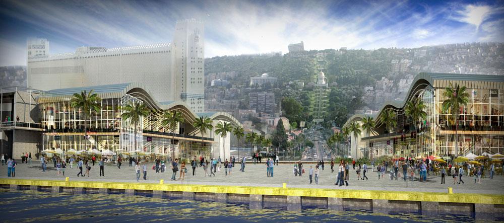 בהדמיה הזו רואים כיצד מתחברת העיר אל הים בצורה הרמונית, תוך משיכת תושבים ותיירים אל המתחם החדש (ממגורת דגון משמאל) (הדמיה: עמי שנער אמיר מן אדריכלים)