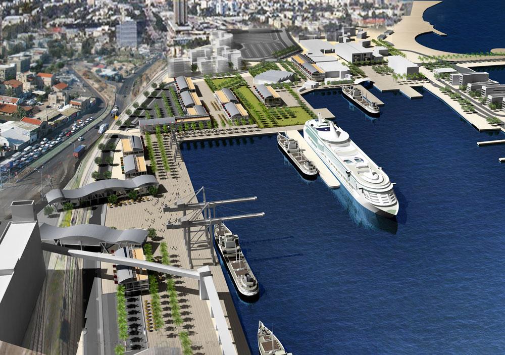 הדמיה של פרויקט ''שער הים'', שמחבר את שדרות בן גוריון עם החוף והנמל. לדעתו של האדריכל עמי שנער מדובר בברכה. המתנגדים טוענים אחרת (הדמיה: עמי שנער אמיר מן אדריכלים)