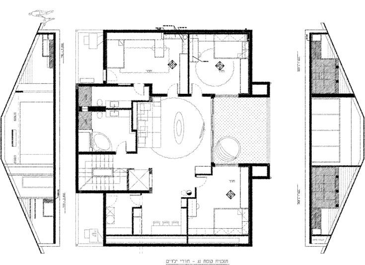 תוכנית קומת הילדים: שלושה חדרי שינה, שני חדרי רחצה וחדר עבודה - כולם סובבים ''סלון'' ילדים, עם יציאה למרפסת גדולה (באדיבות גדי פרידמן- אדריכל)
