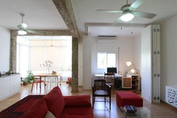 טיפ 2: מחיצה שנפתחת ונסגרת לפי הצורך מאפשרת חלל מגורים פתוח או פרטיות בחדר העבודה. דירה בתכנון רון שינקין (צילום: אורי סיוון)
