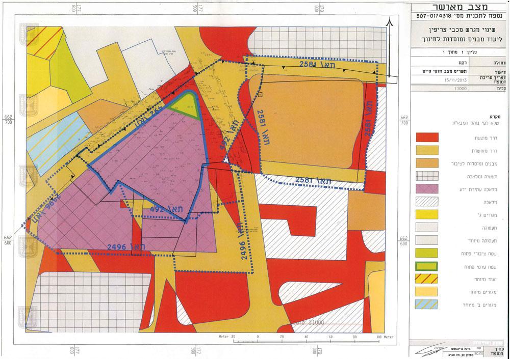 מצב ייעודי הקרקע הקיים (עורכת התכנית: אדר' מיכל גרינבאום בשיתוף ועד הפעולה להצלת הגינה)