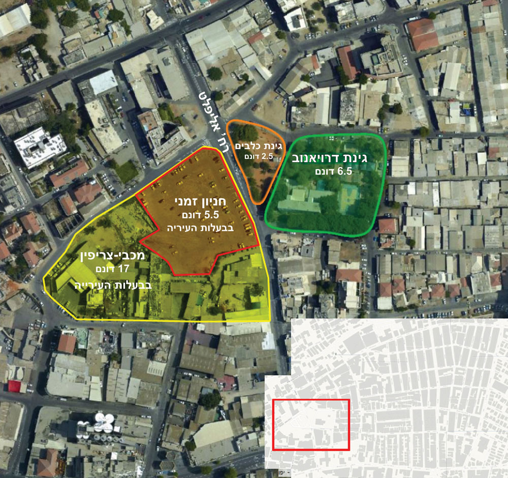 שטח המריבה. מימין: בית הספר דרויאנוב והגינה שהעירייה מתכוונת להרוס. משמאל: חניון מכבי-צריפין שנמצא בבעלות העירייה ויכול להתאים להקמת ביה''ס (הכנת התרשים: אדר' יונתן לבנדיגר , באדיבות עיריית ת''א)