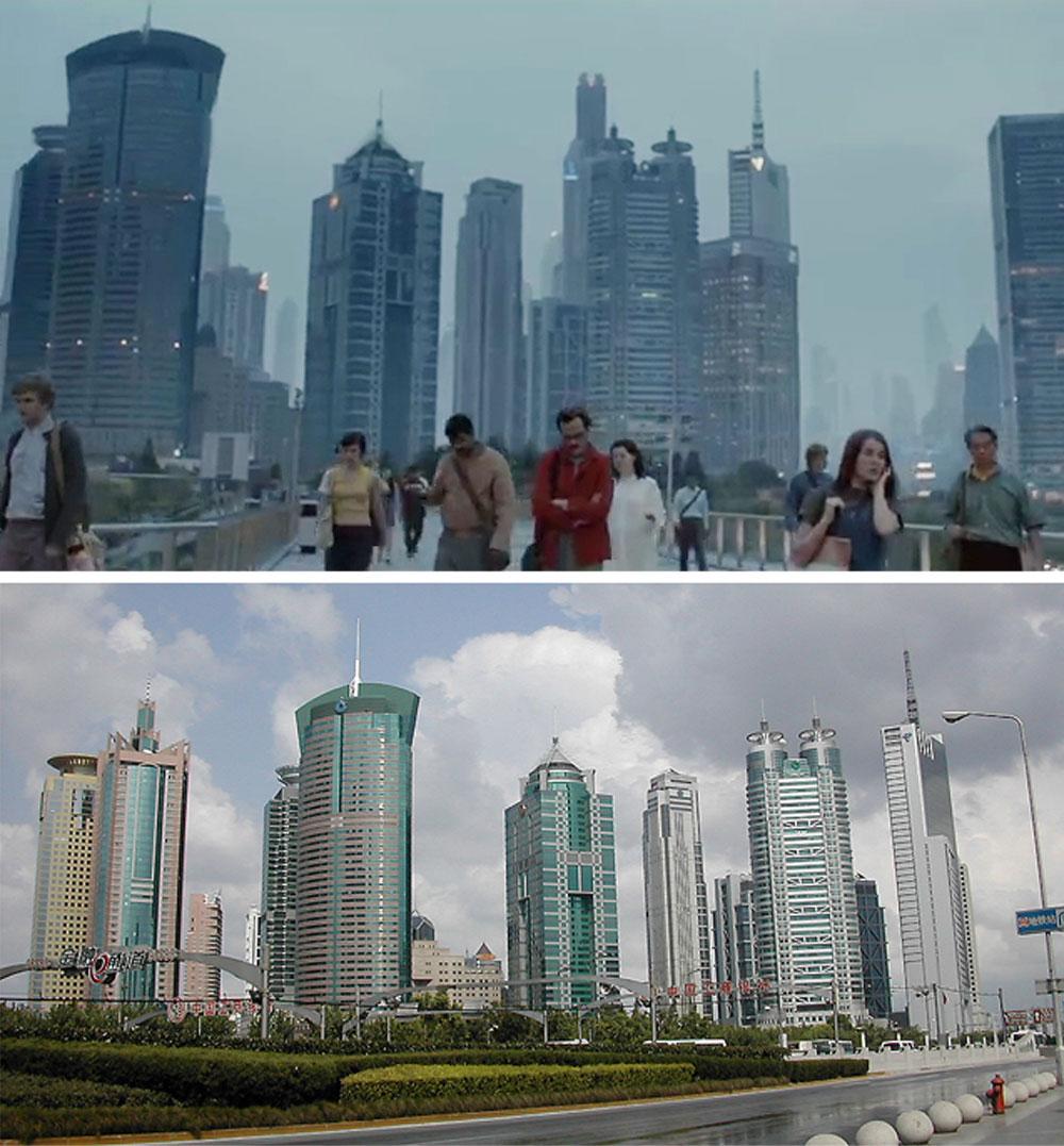 הנה התרומה של שנגחאי לסרט. למעלה: צילום מתוך ''היא'''; למטה: קו המגדלים במציאות (צילום: Alex Needham cc )