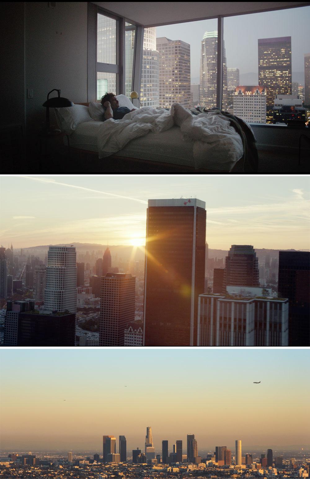 תרומתה של לוס אנג'לס. למעלה: מבט מדירתו של תיאודור אל נוף המגדלים בסרט; למטה: כמה מהמגדלים שמככבים בה במציאות (פרטים בכתבה) (באדיבות סרטי יונייטד קינג, shutterstock)