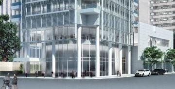 מגדל מאייר, שנבנה בסמוך בימים אלה. השכנים העשירים לא רוצים לראות בניין בטון מהחלון? (הדמיה: View Point)