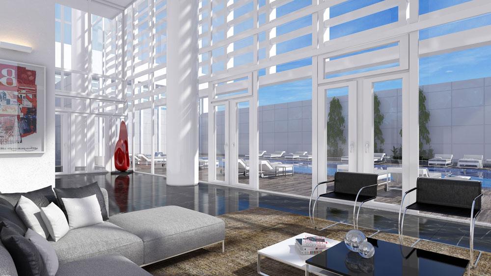 החיפוי הלבן שיעטוף את הבניין ויעניק הצללה לדירות עדיין לא הונח על הקונסטרוקציה. ההדמיה מציגה את התוצאה הסופית (הדמיה: View Point)