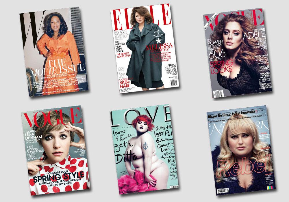 רומן על אמת? הכוכבות המלאות על מגזיני האופנה, משמאל למעלה בכיוון השעון: אופרה ווינפרי, מליסה מקארת'י, אדל, רבל ווילסון, בת' דיטו ולנה דנהאם