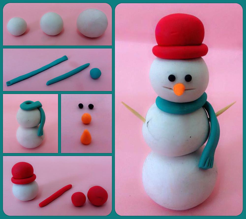 יצירה חורפית. איש שלג מפלסטלינה. (צילום: נועם רז)
