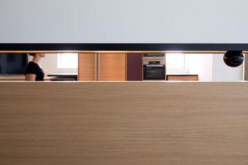 מבט מדלת הכניסה. חלון מוארך מאפשר קשר עין עם העומדים במטבח (צילום: עמית גרון)