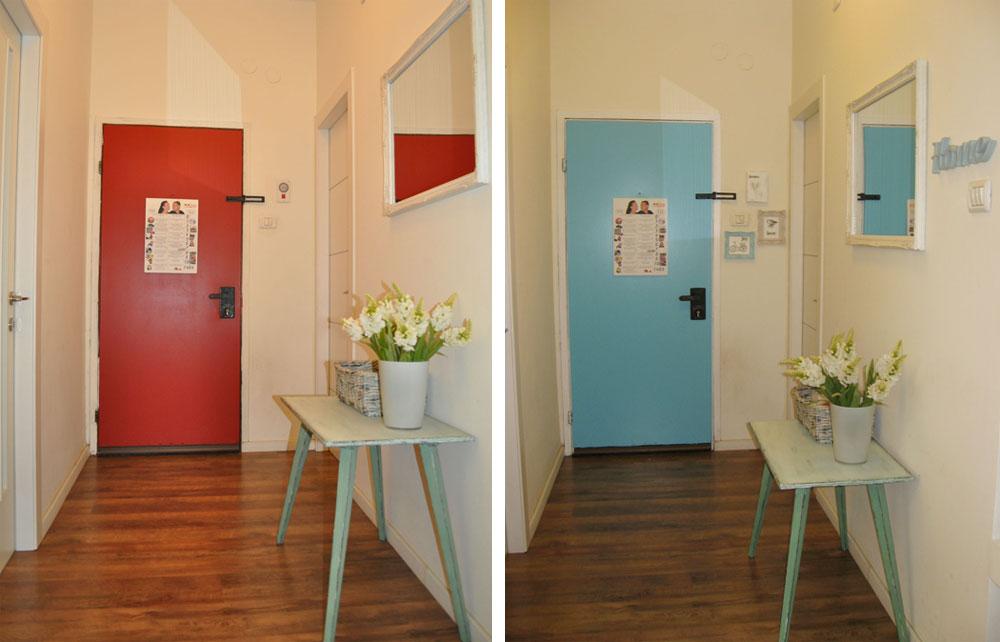 פשוט וזול. הטפט החום קולף מדלת הפלדה, והיא נצבעה בצבע אדום ולאחר מכן בתכלת (צילום: דפי לויאב-גופר )