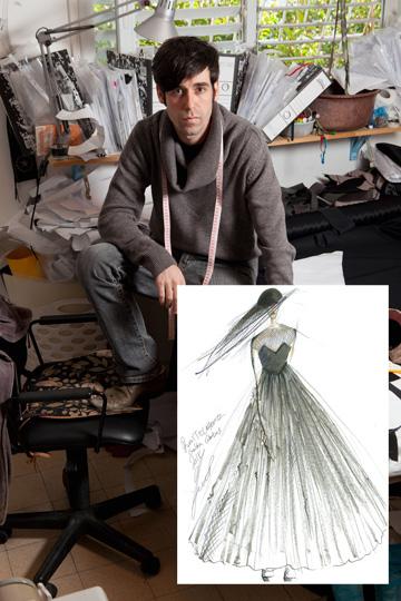 """""""יניב פרסי היקר לי, הכין עבורי שמלת ערב מאוד מעניינת ומדליקה, עם קריצה הומוריסטית, מקורית, כמו שאני אוהבת"""" (צילום: טל שחר, סקיצה: יניב פרסי)"""