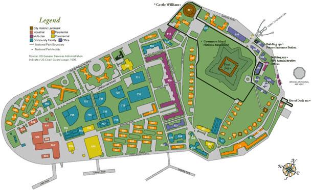 תוכנית האי, כפי שהיה ב-1995. CC-PD-Mark, Governors Island, Maps of Manhattan, New York City, Wikimedia (באדיבות Governors Island)