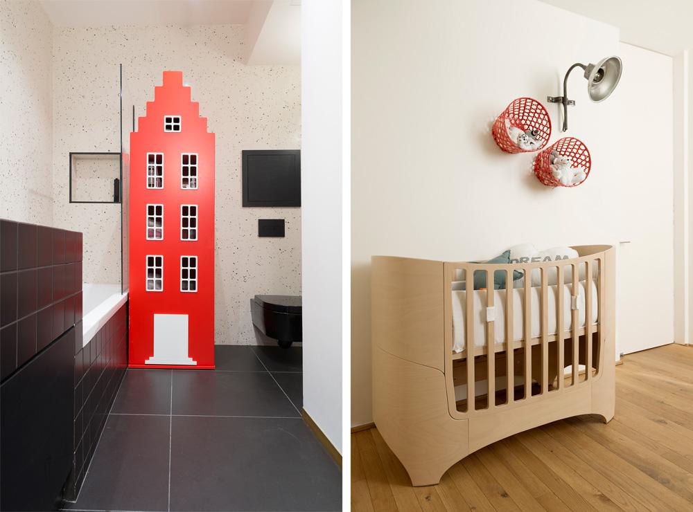 מיטת התינוק נקנתה באתר של החברה הדנית ''leander'' וסלסלות האחסון האדומות על הקיר ב''איקאה''. בחדר הרחצה של הילדים (בתמונה משמאל) עומד ''ארון אמסטרדם'' של המותג ההולנדי Kast van een Huis (צילום: גדעון לוין)