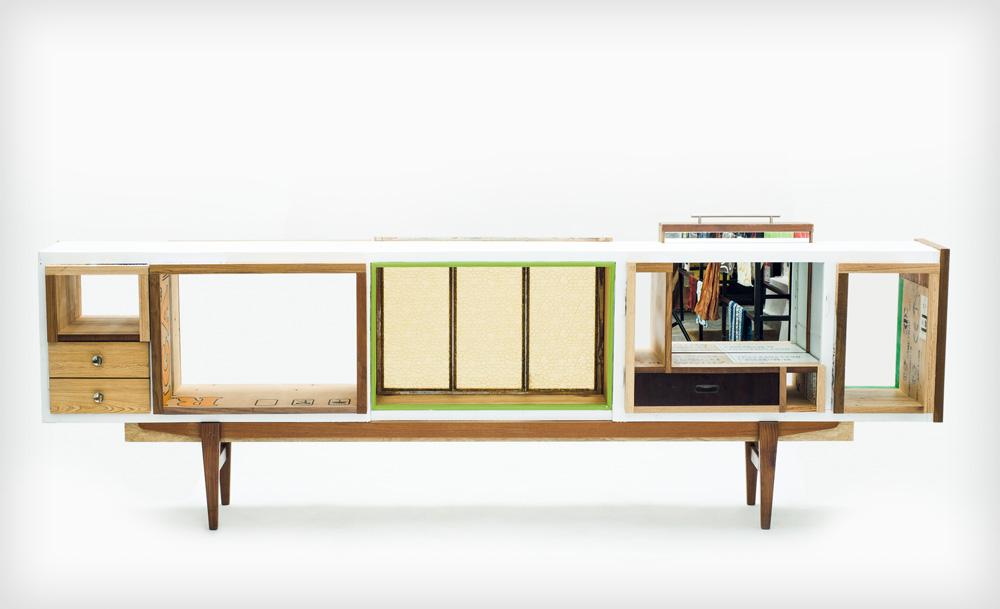''Train''. לפעמים חלקי רהיטים מחכים בנגרייה שנים, עד שרווה מוצא חלקים אחרים שיתחברו אליהם (צילום: אורי שדה)