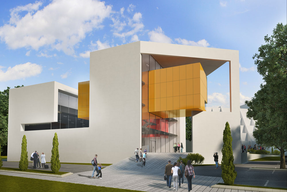 """אורבך-הלוי תיכננו מאסה לבנה, שבה נפער חלל שמפריד בין אגפי המוזיאון (כ-800 מ""""ר) לבין יתר השימושים (תכנון: אורבך הלוי אדריכלים)"""