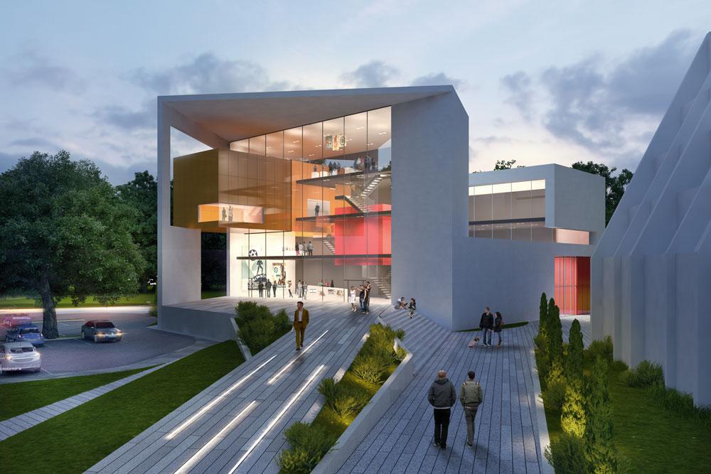 """ההצעה הזוכה של אורבך-הלוי. המבנה מוגבה מעל מסד, ולכניסה מובילה רמפה, שלדברי האדריכל יוצרת """"חוויה המתאימה לטקסים ולאירועים"""" (תכנון: אורבך הלוי אדריכלים)"""