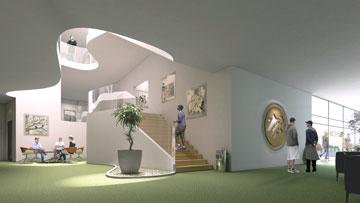 ההצעה של אליקים אדריכלים. מבואת הכניסה משמשת גם כאזור תצוגה (תכנון: אליקים אדריכלים בע''מ)