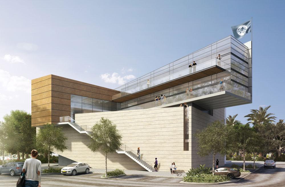 ההצעה של אליקים אדריכלים. בצד השני של הבניין, שאליו מגיעים ברכב, מוקמו כניסה ומבואה נוספות. מהן תוכננה אפשרות להיכנס לאזורי האירוח, או להשתלב במבואה הראשית (תכנון: אליקים אדריכלים בע''מ)