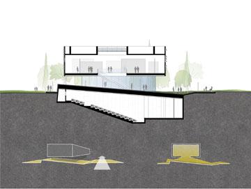 ההצעה של אנדרמן אדריכלים. אודיטורים תת-קרקעי (תכנון: אנדרמן אדריכלים)