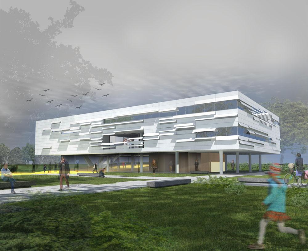 ההצעה של אנדרמן אדריכלים. הבניין מטיל צל על רחבת כניסה חיצונית, שתוכננה להצטרף למבואת הכניסה ולהגדיל את שטחה (תכנון: אנדרמן אדריכלים)