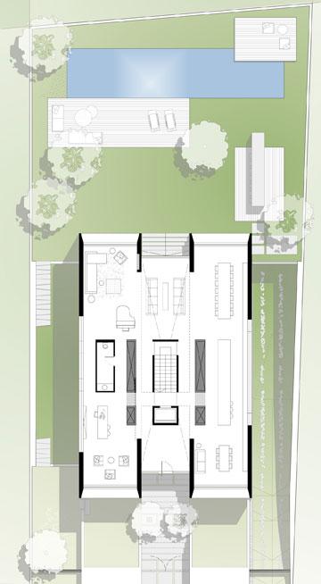 קומת הכניסה תוכננה כשלושה מלבנים ארוכים ומקבילים