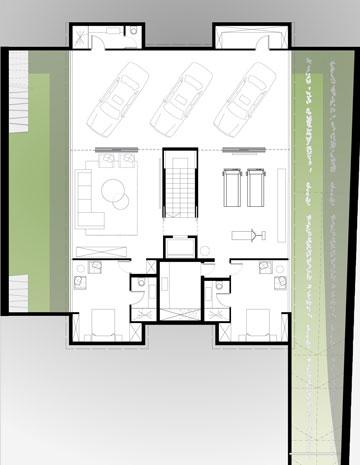 תוכנית קומת המרתף: חניה מרווחת, חדר משחקים גדול, שני חדרי שינה וחצרות אנגליות שמאירות ומאווררות אותם