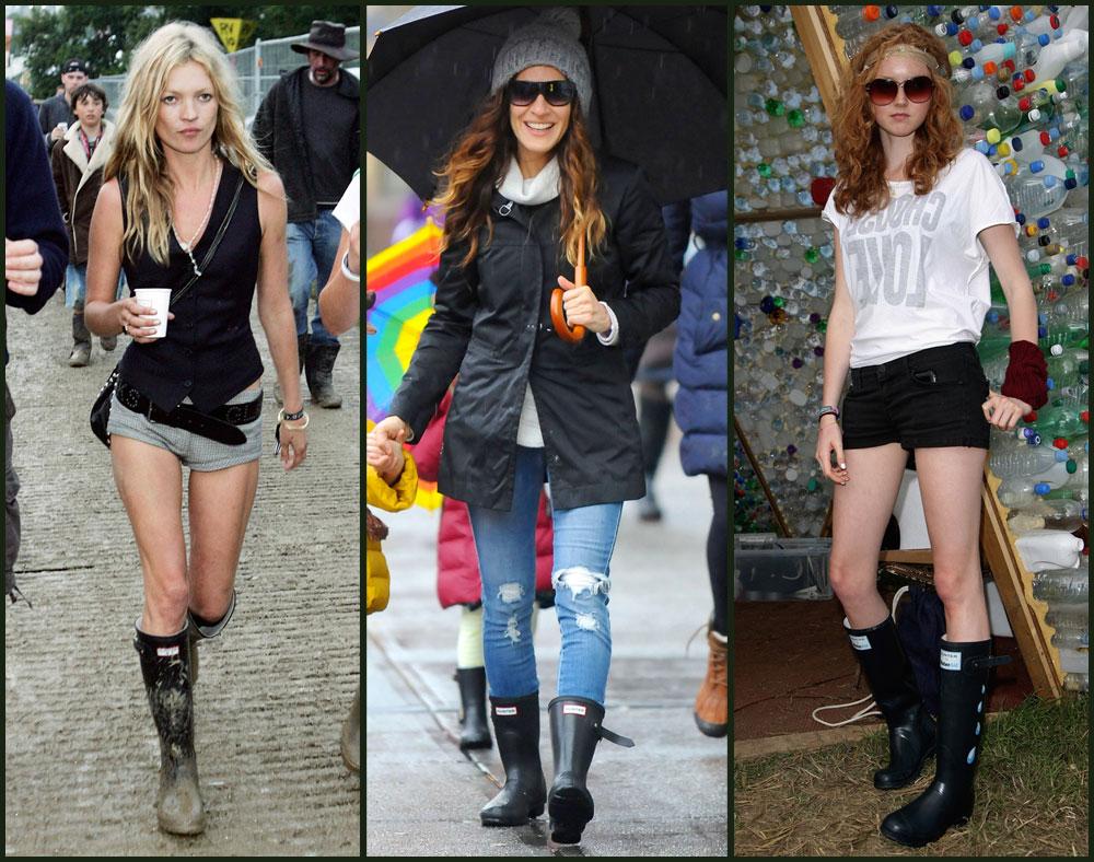 אושיות האופנה מצביעות ברגליים: לילי קול, שרה ג'סיקה פרקר וקייט מוס נועלות האנטר (צילום: rex, gettyimages)