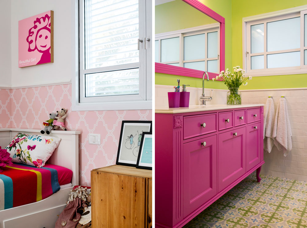 חדר הרחצה המשותף לשתי הבנות עוצב בוורוד ובירוק. מגוון הצבעים שכולל ורוד,ירוק, תכול וצהוב חוזר כמעט בכל אחד מחדרי הבית (צילום: שירן כרמל)