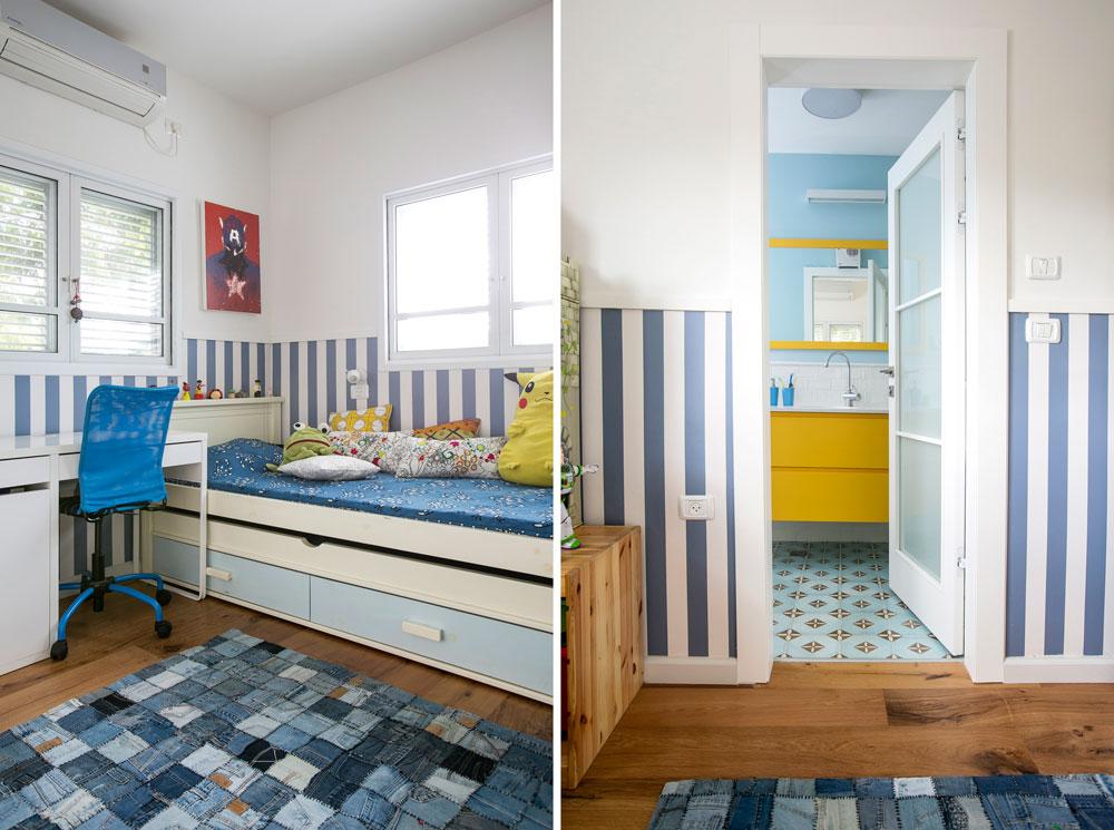 בקומה העליונה הפך חדר ההורים הישן לחדרו של הבן הבכור, עם טפט פסים ושטיח טלאים מג'ינס, וחדר רחצה צמוד בגוונים תואמים (צילום: שירן כרמל)