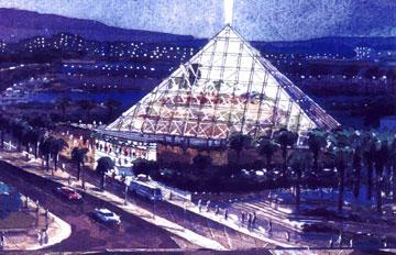 כך אמור היה הבניין להיראות לפני התכנון המקורי: לוחות זכוכית שקופה וקרן אור בלילה (באדיבות חיים דותן וזיידלר רוברטס אדריכלים )
