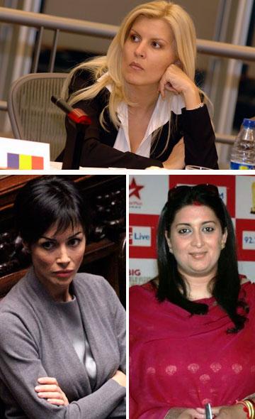 מדוגמנות לפוליטיקה ברחבי העולם, מלמעלה עם כיוון השעון: אלנה אודראה, סמיטרי איראני ומארה קרפניה (צילום: filmitadka.in, gettyimages ,European People's Party )