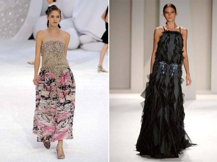 תצוגות האופנה של קרולינה הררה (מימין) ושאנל. מכל בד ובכל צבע - העיקר לא לוותר על האורך (צילום: gettymages)