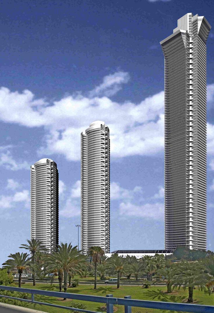 המגדל הוא רק אחד, אם כי הגבוה ביותר, בין המגדלים שיוקמו ב''גבעתיים סיטי'' ויהפכו את אזור רכבת צפון וצומת עלית לצפוף עוד יותר (הדמיות באדיבות א.ניב, א.שוורץ אדריכלים)