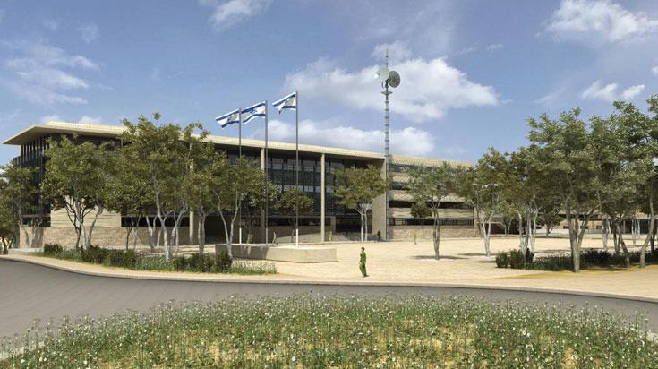 כיכר המפקדה. חומרי הגמר של הבניינים עדיין לא נקבעו סופית, אך הכוונה היא להשתמש בגוונים של הסביבה המדברית (הדמיה: סטודיו 84)