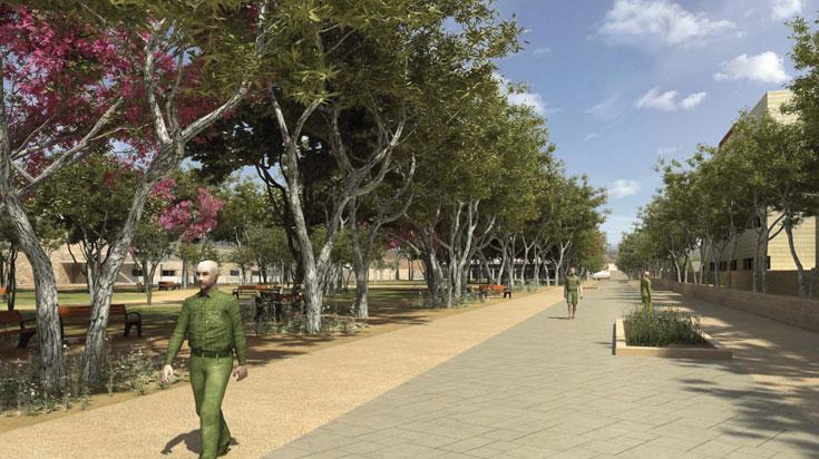 תדע כל אם עברייה שכך תיראה עיר הבה''דים. עד שהעצים יצמחו, יהיה צורך להצל על השבילים בקירוי חיצוני (הדמיה: סטודיו 84)