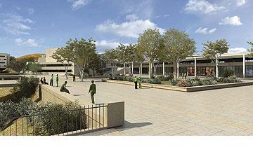 מהכיתות תהיה יציאה למשטחי דשא או לגגות מרוצפים (הדמיה: סטודיו 84)