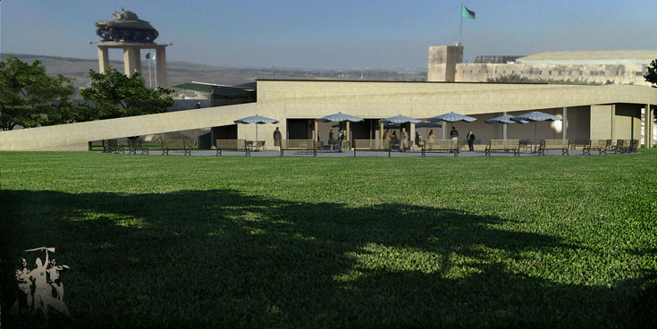 בעמותת השריון אמרו לאדריכלים שלא יסתירו את משטרת טיגארט ההיסטורית, והאדריכלים קיבלו את המגבלה (הדמיה: העמותה להקמת מוזיאון הלוחם היהודי במלחמת העולם השנייה)
