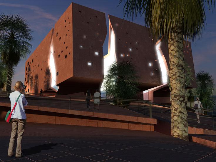 הצעתם (שלא זכתה) לתחרות על תכנון בניין עיריית אילת (הדמיה: סטודיו  o2a)