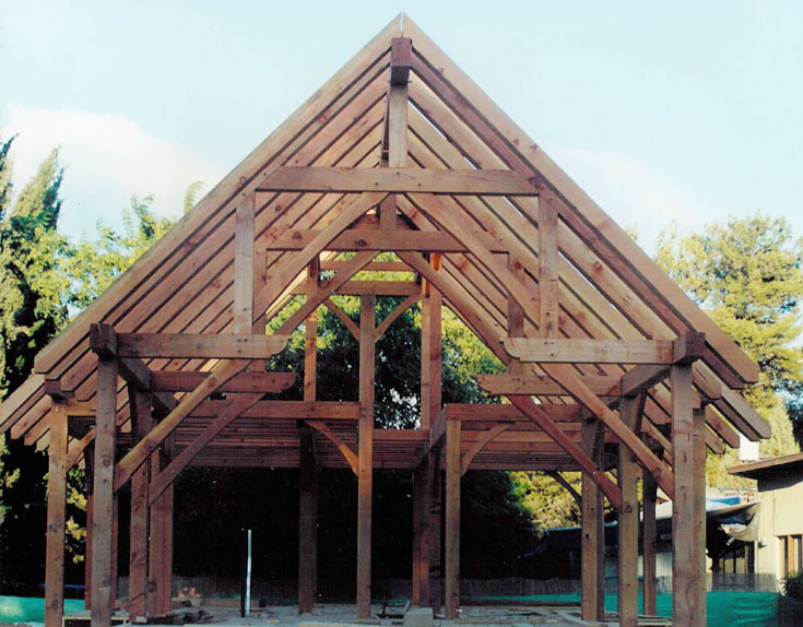 שלד הבית, שנבנה לפני 12 שנים. קורות ארוכות של עץ מסוג ''דאגלאס פייר'', שהובא במיוחד מפנסילבניה (באדיבות אלישע רובינוף)