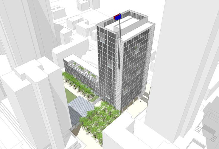 הדמיה של מגדל העירייה החדש. יאחד את כל אגפיה הפזורים בעיר ויוקף בארבעה מגדלים בני 45 קומות (הדמיה: קולקר קולקר אפשטיין אדריכלים)