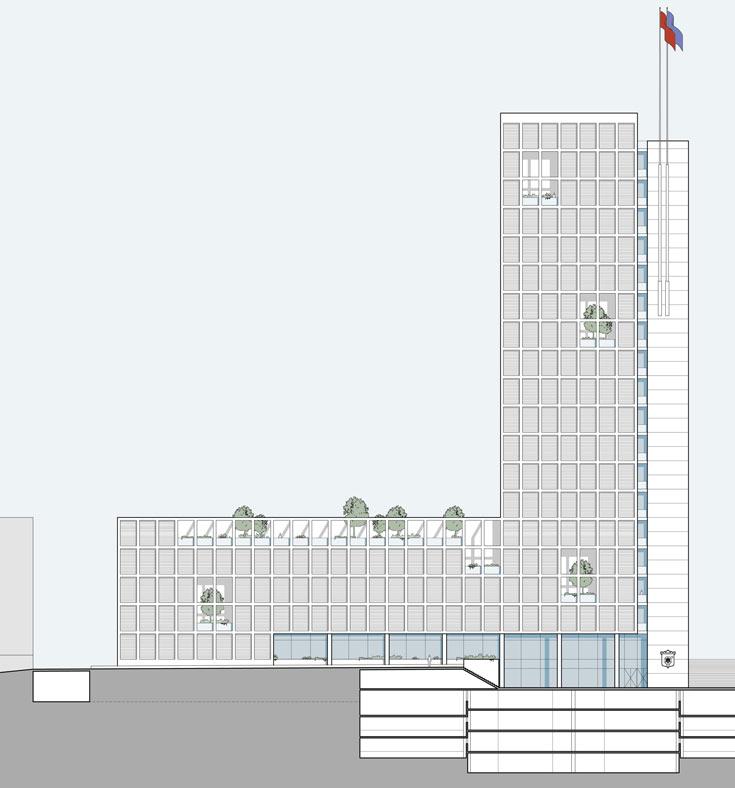 חתך של מגדל העירייה החדש. ארבע קומות של חניה תת קרקעית (הדמיה: קולקר קולקר אפשטיין אדריכלים)