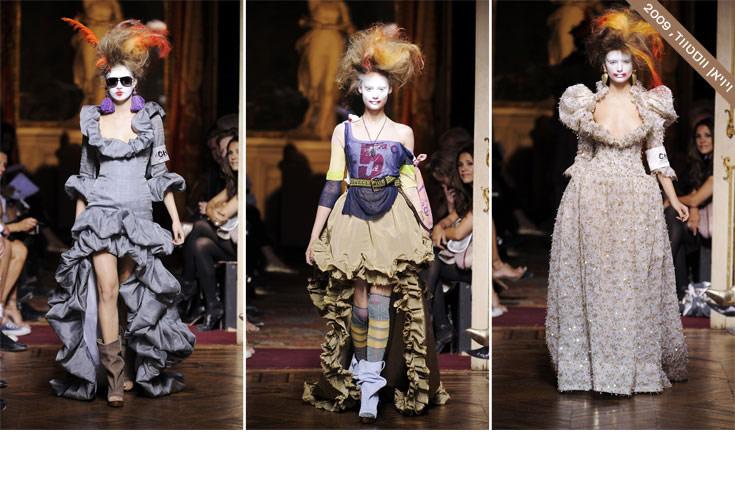 כמי שחוקרת בעבודתה מורשת בריטית וסמלי מלוכה, לא היה מן הנמנע שווסטווד תגיש למעריציה גם את ראשה של מארי אנטואנט. דוגמניות לבנות פנים ושיער שנופח ואוגד ברישול, טופפו בתצוגת אביב-קיץ 2010 של המעצבת. המספריים של ווסטווד עשו שמות בשמלות הפאר של אנטואנט, ששילבה את העושר הטקסטילי של המלכה עם דימויים מאגדות ילדים (צילום: gettyimages)