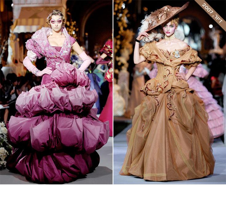 מעצב האופנה ג'ון גליאנו חזר שוב למלכה בשנת 2007, הפעם בשמלות מרובות הבדים, הצבעים והקישוטים שיצר לקו ההוט קוטור של בית האופנה כריסטיאן דיור. על המסלול הזה חגג גליאנו את הפאר, ההדר והעושר הטקסטילי המופגן של שמלות הקרינולינה עתירות הבד של מארי אנטואנט טרום המהפכה (צילום: gettyimages)