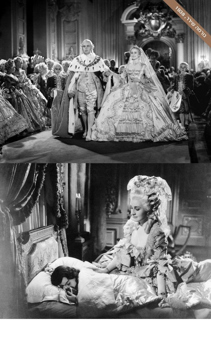 """בין סרטי הקולנוע המוקדמים שניסו לעמוד על דמותה של אנטואנט היה """"מארי אנטואנט"""" משנת 1938, בכיכובה של זוכת האוסקר נורמה שירר. כמו בסרטים המאוחרים על חיי המלכה, גם כאן שמרו מעצבי התלבושות על מראה תלבושותיה המקוריות של אנטואנט. ברוב המקרים שירר נראתה כמו שופט אנגלי עם תלתלי זהב, שבחר לעטות על עצמו בגדי נשים"""