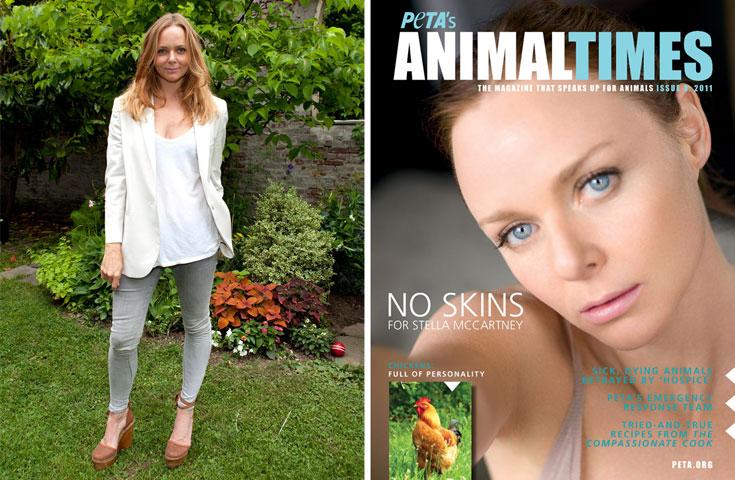 סטלה מקרטני על שער המגזין של PETA (מימין) ובהשקת הקולקציה בעיצובה. ''כמעצבת, אני רוצה לעבוד עם חומרים שאינם מדממים''