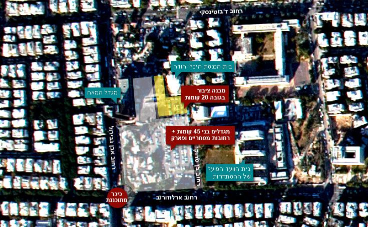 צילום אווירי של אזור מתחם סומייל. בימים אלה נמצאת בתהליך אישור מתקדם תוכנית בנייה גדולה ושנויה במחלוקת (צילום אוויר: מורדגן הפקות)