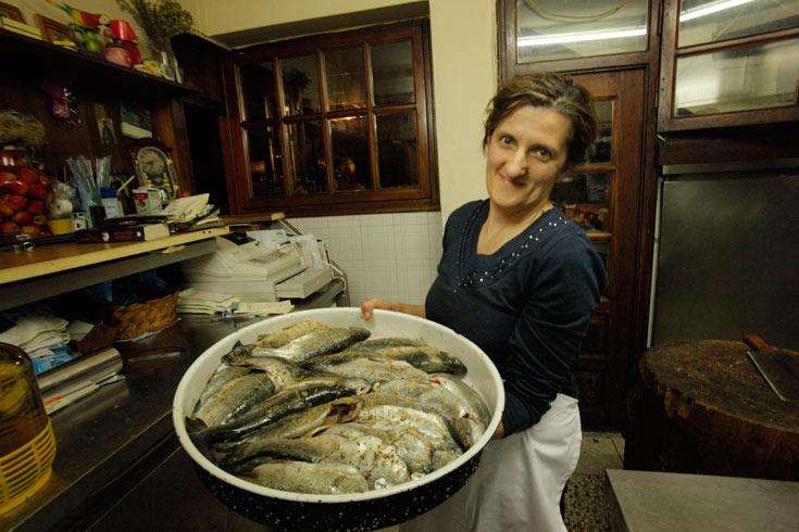 דגי פורל ישר מהים. חוות נריידה (צילום: יזהר גמליאלי)