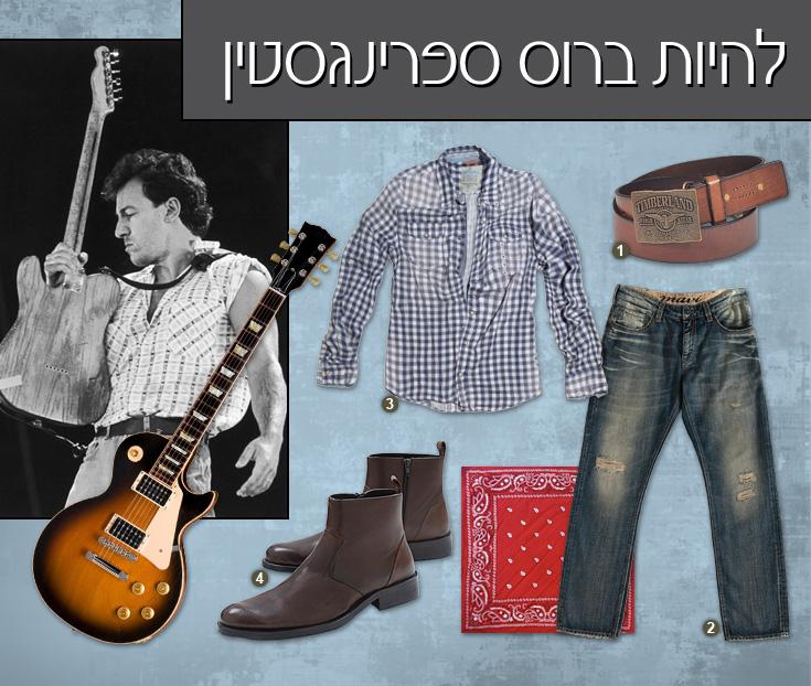 1. חגורה, 220 שקל, טימברלנד; 2. מכנסי ג'ינס, 450 שקל, מאווי ב-H&O; 3. חולצה משובצת, 159 שקל, ברשקה; 4. מגפיים, 400 שקל, ml men