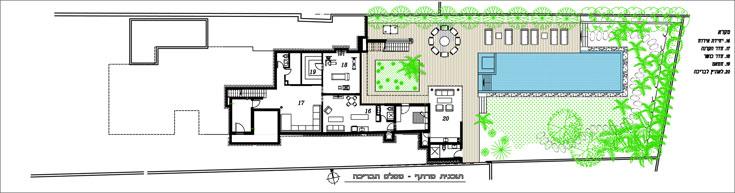 תוכניות 3 הקומות: למעלה קומת חדרי השינה, במרכז קומת הכניסה ולמטה קומת הגינה (באדיבות אדריכלות זילברמן אפרת, עיצוב נוף איתמר תכנון בנוף)